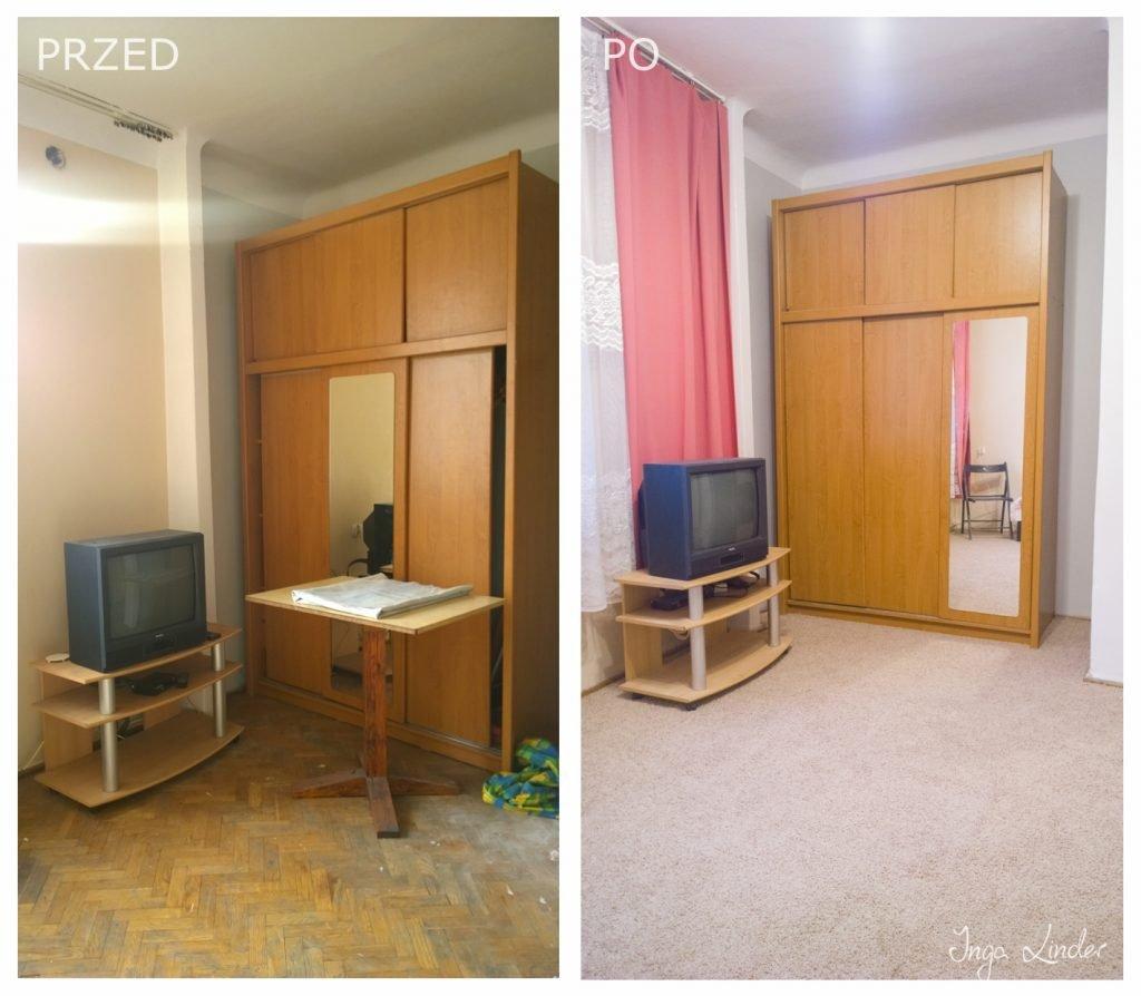 Remont mieszkania na wynajem - pokój - przed i po