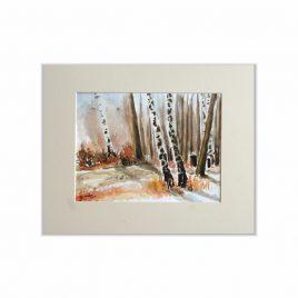 Brzozy - akwarela drzewa -obraz do salonu