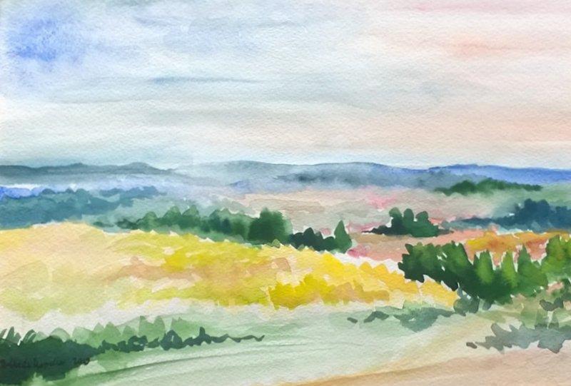 Krajobraz - akwarela Inga Linder