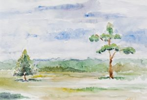 Krajobraz suwalski - akwarela Inga Linder