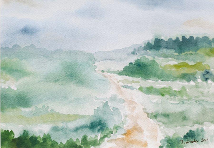 Ścieżką pośród łąk - akwarela pejzaż Inga Linder
