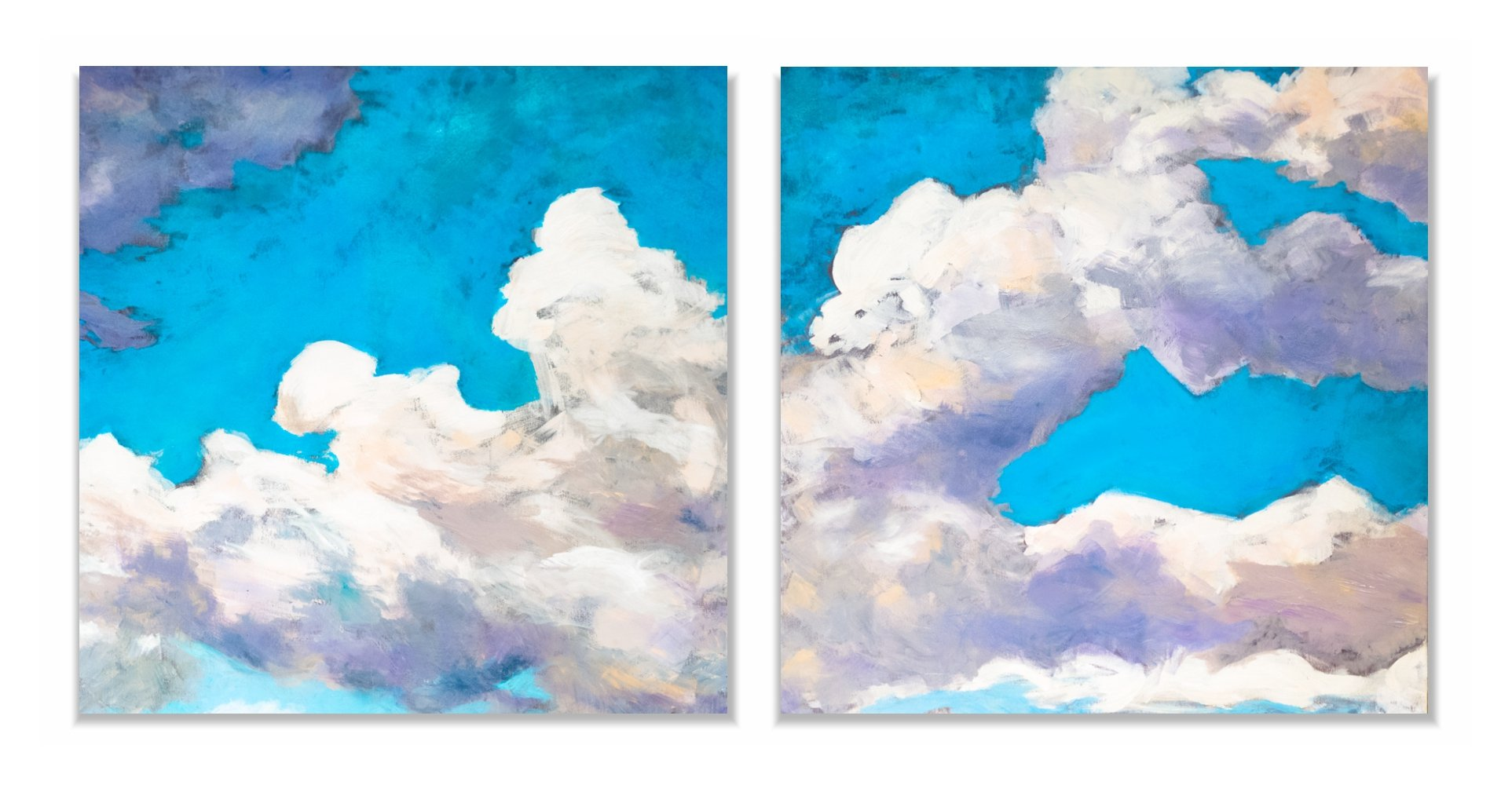 chmury dyptyk -obraz olejny Inga Linder