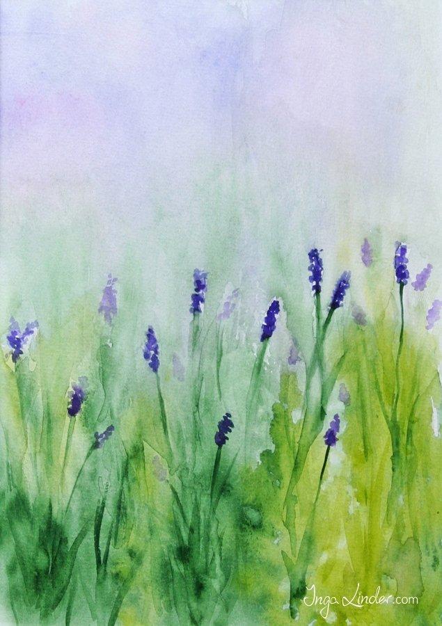Akwarela kwiaty - lawenda