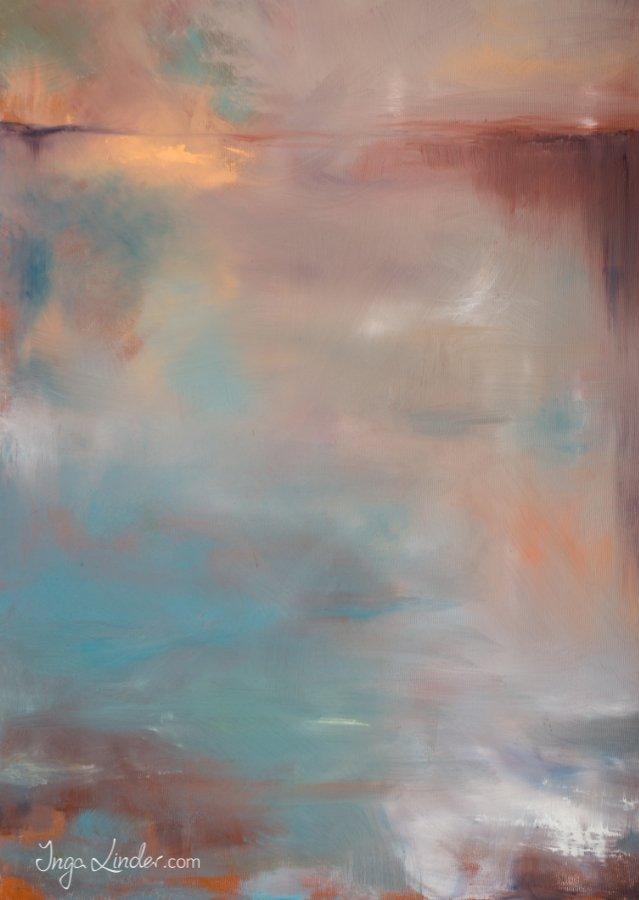 Jezioro abstrakcja - olej na płótnie Inga Linder