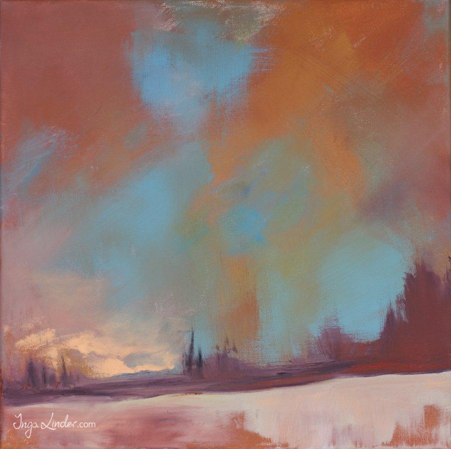 Krajobraz abstrakcja - olej na płótnie Inga Linder